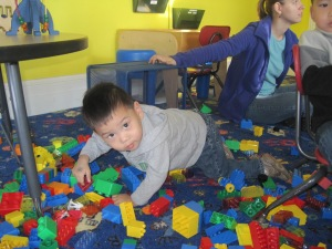 He was playing with the blocks.