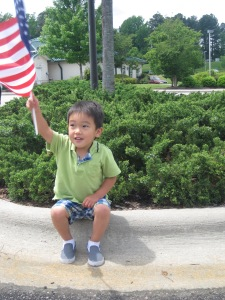 He was quite proud of his American flag!