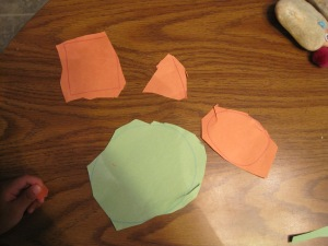 I think he did very well cutting out shapes! I drew shapes for him & he cut them out all by himself!